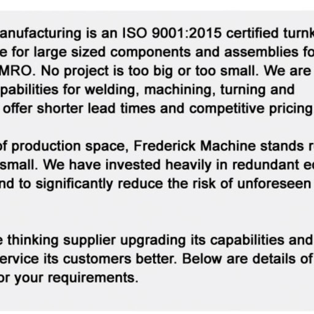 Frederick Machine Repair, Inc. product image 1